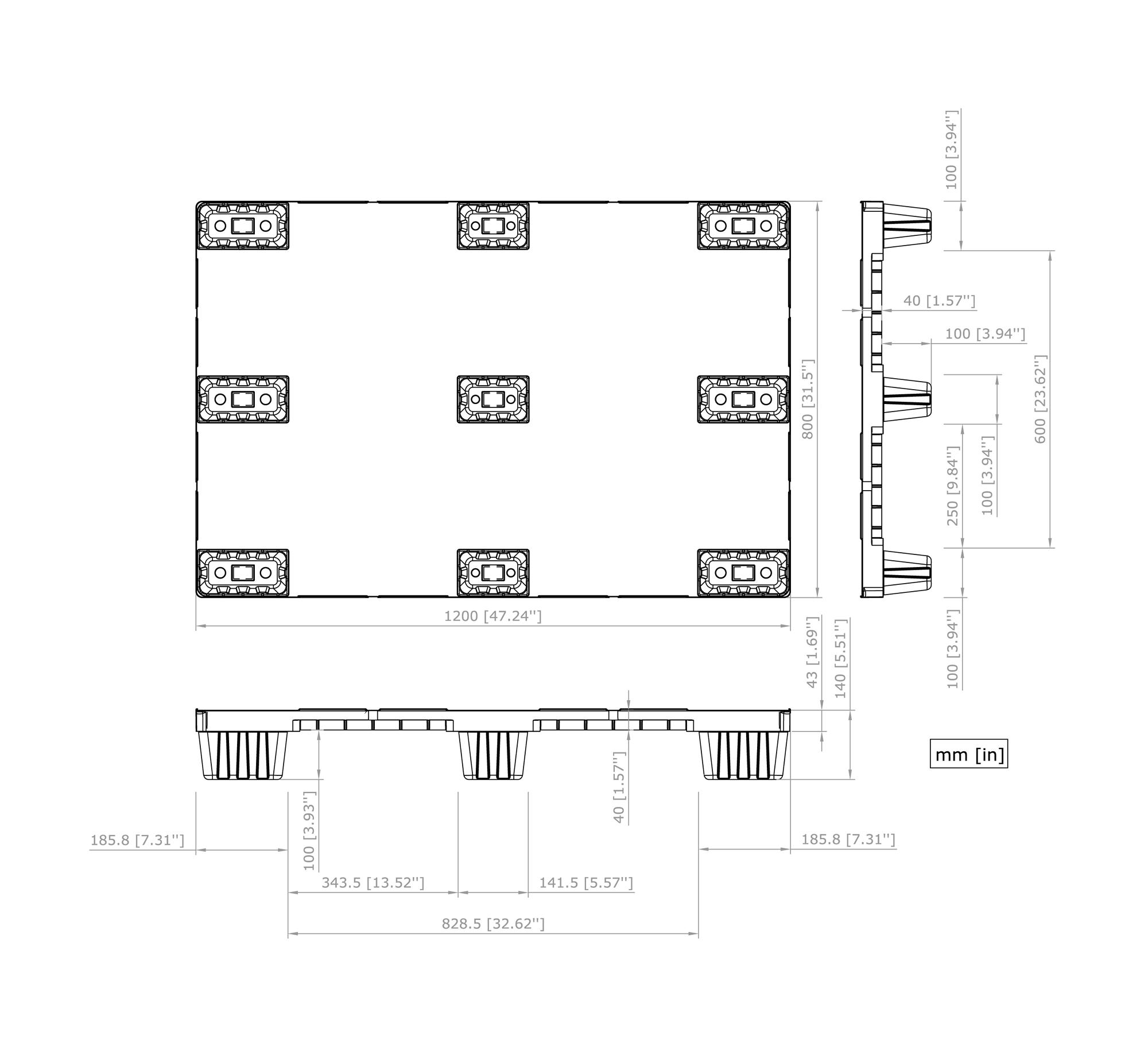 Geschlossene Nestbare Leichte Europalette Basic 1208 C9 Nortpalet