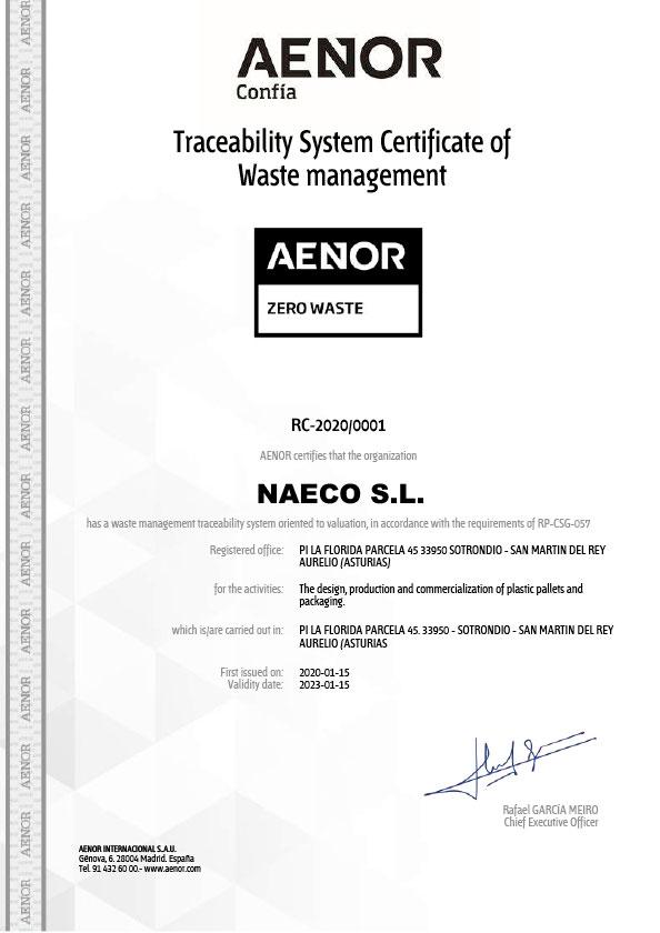 Certificado de Sistema de Trazabilidad de Gestión de Residuos
